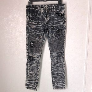 DNM 30 Black distressed SKINNY JEAN W/ patches